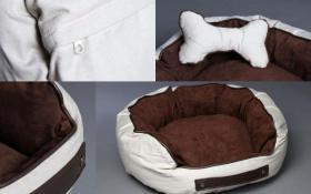 Hunde Körbchen Hundekissen braun/beige mit Kissen