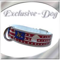 Hundehalsband American Flagge Strass Leder Halsband ''EXCLUSIVE-DOG''