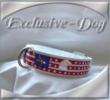 Foto 2 Hundehalsband American Flagge Strass Leder Halsband ''EXCLUSIVE-DOG''