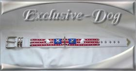 Foto 3 Hundehalsband American Flagge Strass Leder Halsband ''EXCLUSIVE-DOG''