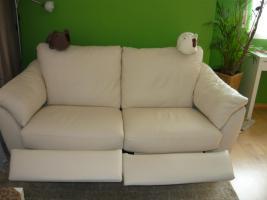 Ikea Älvros 3er weiss Leder Sofa ausstellbar Fußteil 11Mte.NP1299