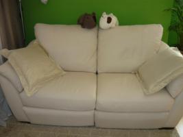 Foto 3 Ikea Älvros 3er weiss Leder Sofa ausstellbar Fußteil 11Mte.NP1299