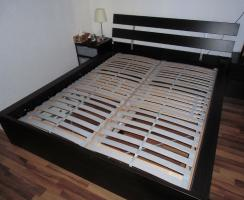 Ikea-Bett Malm,  (1,60 x 2,00)m, braun mit allem drum und dran