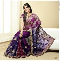 Indische saree Purple and Navy Blue shaded Net Saree