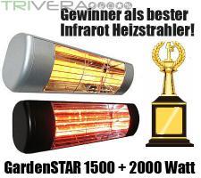 Foto 2 Infrarot Heizstrahler für Terrasse oder Garten, farbig in Schwarz oder Weiss.