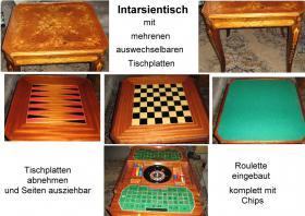 Intarsientisch mit mehreren Tischplatten (Abholpreis)
