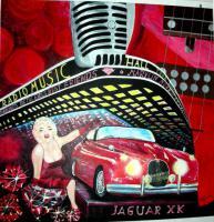 Jaguar mit Marylin Monroe Gemälde