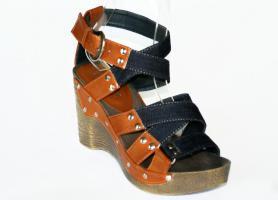 Jeans Sandaletten mit Keilabsatz