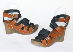 Foto 5 Jeans Sandaletten mit Keilabsatz