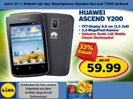 Jetzt 33 % Rabatt auf das Smartphone Huawei Ascend Y200 sichern