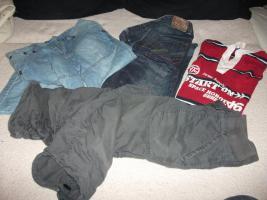 Jungenbekleidung: 1x Jeans / 1x 3/4 Jeans / 1x Caprihose / 1x Langarmshirt... Gr. 164