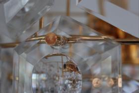 Foto 6 KINKELDEY Crystal Decken Lampe Leuchter Kristallglasleuchter 24 Karat goldplated