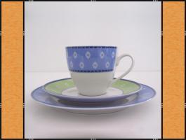 Kaffeeservice - 18 Teile - Blau und Grün