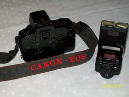 Foto 2 Kamera von Canon EOS 5 analog, mit Speedlide 430 EZ Plitz und Bedienungsanleitung