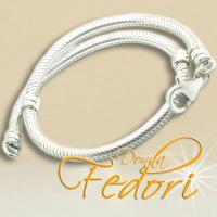 Karabiner-Armband für Beads mit Zwischengewinden 925 Sterling Silber ca. 21 cm