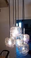 Kaskade Lampe Hängelampe 6 flammig, Glass, Chrom DORIA, 60er 70er