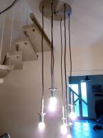 Foto 5 Kaskade Lampe Hängelampe 6 flammig, Glass, Chrom DORIA, 60er 70er