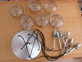 Foto 6 Kaskade Lampe Hängelampe 6 flammig, Glass, Chrom DORIA, 60er 70er