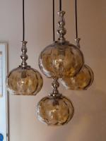 Foto 4 Kaskade Pendelleuchte Hängelampe 4 flammig, Glas Schirm, und Chrom Gestell