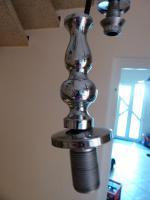 Foto 6 Kaskade Pendelleuchte Hängelampe 4 flammig, Glas Schirm, und Chrom Gestell