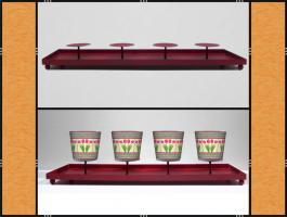 Foto 3 Kerzenhalter, Dekotablett, groß, dekorierbar, in 4 Farben – Metall (59 cm)
