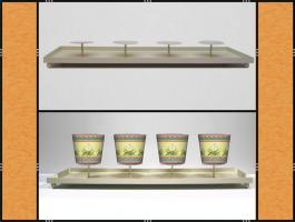 Foto 4 Kerzenhalter, Dekotablett, groß, dekorierbar, in 4 Farben – Metall (59 cm)