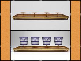 Foto 5 Kerzenhalter, Dekotablett, groß, dekorierbar, in 4 Farben – Metall (59 cm)