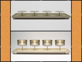 Foto 4 Kerzenhalter, Dekotablett, klein, dekorierbar, in 4 Farben – Metall (45 cm)