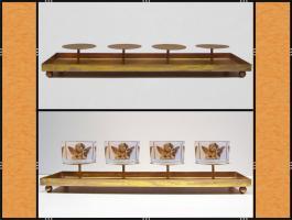 Foto 5 Kerzenhalter, Dekotablett, klein, dekorierbar, in 4 Farben – Metall (45 cm)