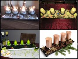 Foto 6 Kerzenhalter, Dekotablett, klein, dekorierbar, in 4 Farben – Metall (45 cm)