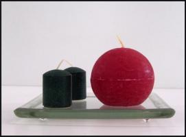 Foto 3 Kerzenteller in verschiedenen Designs: Rund, Quadrat, Matt und Klar
