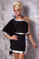 Kimono-Look Party Minikleid Lack Borte Schwarz Silber