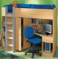 Kinderhochbett Blau / Buche 3 Jahre alt (NP500 Euro) zu verschenken