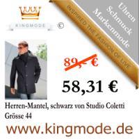 Kingmode.de - Mode für gehobene Ansprüche -Herren-Mantel, schwarz von Studio Coletti Grösse 44