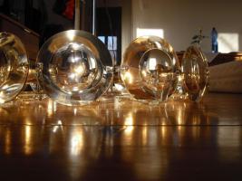 Klassiker 70er Jahre - Lampe mit Glas und Chrom