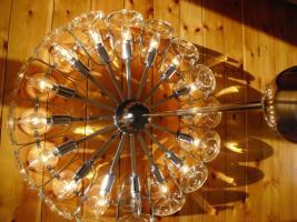 Foto 2 Klassiker 70er Jahre - Lampe mit Glas und Chrom