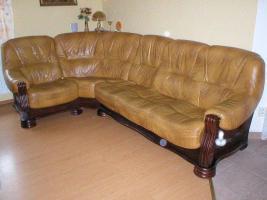 Foto 3 Klassische, luxuriöse Sofagarnitur aus Leder und Holz