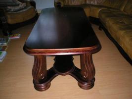 Foto 4 Klassische, luxuriöse Sofagarnitur aus Leder und Holz