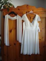 Kleid naturweiss neu, Fashion New York, mit passendem Schal -NP zusammen 173, - €