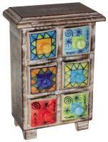 Foto 3 Kleine Holzkommode mit 6 handbemalten Kermikschubladen (in versch. Farben erhältlich!)