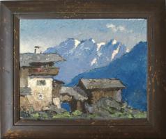 Kleines Gemälde ''Gebirgshaus''