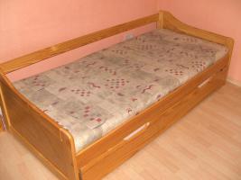Kojenbett mit ausziehbaren Bettschubkasten  (Holz massiv Kiefer)