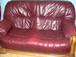 Foto 3 Komplette Nappa Leder Couch Garnitur 3er, 2er und ein Einzelsessel