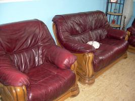 Foto 5 Komplette Nappa Leder Couch Garnitur 3er, 2er und ein Einzelsessel