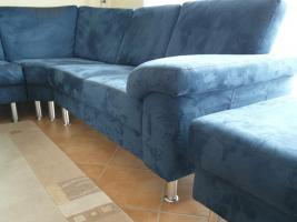 Komplettes Ecksofa, 6-Sitzer, inklusive Sessel und Hocker, blau