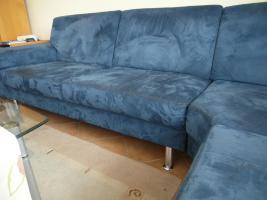 Foto 2 Komplettes Ecksofa, 6-Sitzer, inklusive Sessel und Hocker, blau