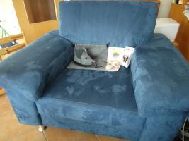 Foto 3 Komplettes Ecksofa, 6-Sitzer, inklusive Sessel und Hocker, blau