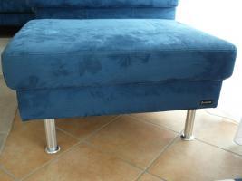 Foto 4 Komplettes Ecksofa, 6-Sitzer, inklusive Sessel und Hocker, blau