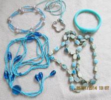 Konvolut Set Schmuck Ketten, Uhr, . NEU & unbenutzt Modeschmuck 6 St�ck t�rkis / blau