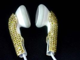 Foto 2 Kopfh�rer Apple iPod / iPhone gold / Farbe Diamant Ohrh�rer